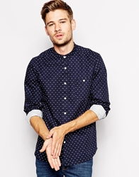 Asos Shirt In Long Sleeve With Slub Polka Dot And Grandad Collar Navy