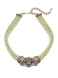 Heidi Daus Burst Of Bling Faux Pearl And Swarovski Crystal Lariat Necklace Green