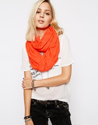 Pieces Draped Woven Snood Scarf Tangerine