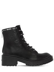 Kenzo 50Mm Pike Logo Lace Up Leather Boots Black