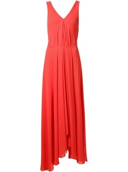 Saloni V Neck Long Draped Dress Red