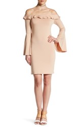 Go Couture Ruffle Bodycon Dress Brown