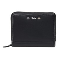 Tula Violet Leather Small Zip Around Wallet Purse Black