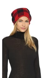 Plush Fleece Lined Plaid Beanie Red Black