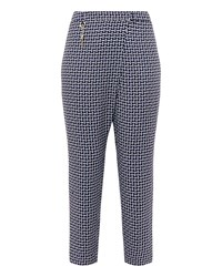 Ted Baker Fylie Pencil Print Crossover Trousers Navy