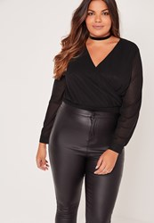 Missguided Plus Size Wrap Blouse Bodysuit Black Black