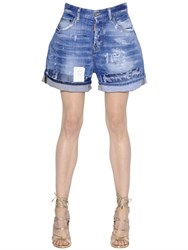 Dsquared Kawaii Destroyed Stretch Denim Shorts