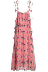Antik Batik Tasseled Floral Print Cotton Gauze Maxi Dress Bubblegum