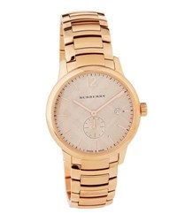 Burberry 40Mm Classic Round Bracelet Watch W Check Dial Pink
