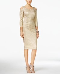 Inc International Concepts Metallic Cold Shoulder Sheath Dress Only At Macy's Gold