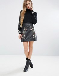 Rokoko Trophy Leather Skirt With Flower Embroidery Black
