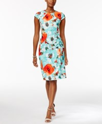 Connected Ronni Nicole Cap Sleeve Floral Print Sheath Dress Teal Coral