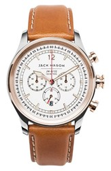 Jack Mason Brand Men's Nautical Chronograph Leather Strap Watch 42Mm