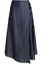 Amanda Wakeley Wrap Effect Pleated Denim Midi Skirt Dark Denim