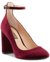 Inc International Concepts Gallan Ankle Strap Pumps Created For Macy's Women's Shoes Burgundy