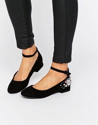 New Look Embroidered Ankle Strap Flat Shoe Black