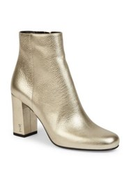 Saint Laurent Babies Metallic Leather Block Heel Booties