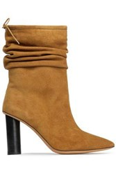 Iro Gathered Suede Ankle Boots Camel