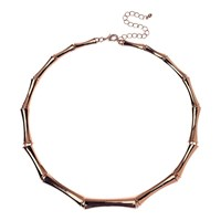 Adele Marie Bamboo Links Collar Necklace Rose Gold