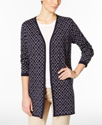 Charter Club Petite Iconic Print Cardigan Only At Macy's Deepest Navy Combo