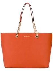Michael Michael Kors Chain Embellished Tote Women Leather One Size Yellow Orange