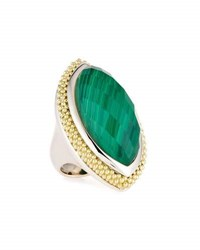 Lagos North South Marquis Malachite Statement Ring Green