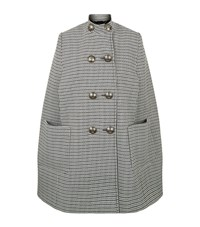 Alexander Mcqueen Double Breasted Houndstooth Cape Female Multi