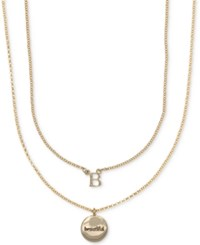 Ivanka Trump Gold Tone 2 Pc. Set Initial And Disc Pendant Necklaces Crystal B