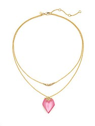 Alexis Bittar Lucite And Swarovski Crystal Double Layered Pendant Necklace Crimson