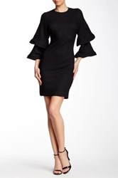 Gracia Structured And Tiered Bell Sleeve Knit Dress Black