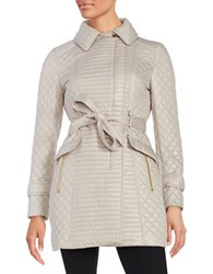 Via Spiga Quilted Trench Coat Oyster