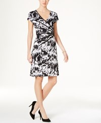 Connected Petite Piped Floral Print A Line Dress Black White Floral