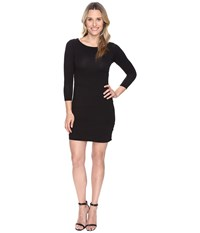 Mod O Doc Cotton Modal Spandex Jersey 3 4 Sleeve Asymmetrical Tiered Dress Black Women's Dress