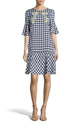 Eci Embroidered Checker Shift Dress Navy White