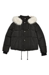 Topshop Faux Fur Lined Quilted Puffer Jacket Black