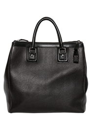 Dolce And Gabbana Double Zip Grained Leather Shopping Bag Black
