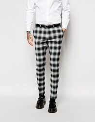 Noose And Monkey Wool Check Trouser With Stretch In Skinny Fit Black