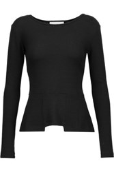 Kain Label Barnes Textured Modal Blend Peplum Top Black
