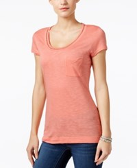 Calvin Klein Jeans Embellished Scoop Neck T Shirt Shell Pink