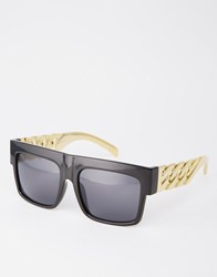 Asos Flatbrow Sunglasses With Gold Chain Detail Temples Black