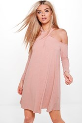 Boohoo Twist Halter Neck Soft Rib Swing Dress Blush