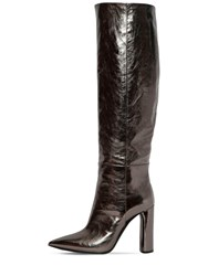 Casadei 100Mm Tall Metallic Leather Boots Silver