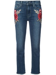 Paige Embroidered Flower Skinny Jeans Women Cotton Polyester Spandex Elastane 29 Blue