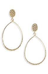Panacea Hammered Teardrop Earrings Gold