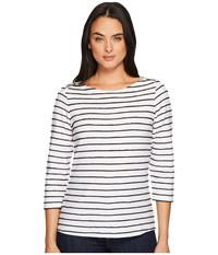 Hatley Caroline Boat Neck Tee Black Stripes Women's T Shirt