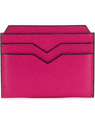 Valextra Textured Cardholder Pink And Purple