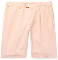 Loro Piana Slim Fit Pleated Cotton And Linen Blend Bermuda Shorts Orange