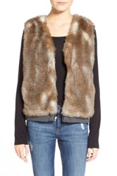 Splendid 'Ashville' Faux Fur Reversible Vest Brown