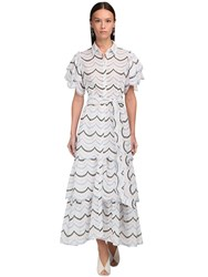 Luisa Beccaria Embroidered Cotton Poplin Long Dress White