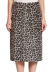 Theory Sahara Printed Leather Midi Skirt Ivory Brown